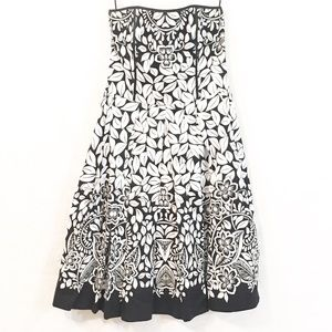 WHBM Strapless Black white floral dress